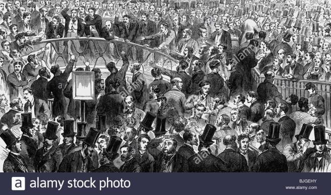 money-finance-stock-exchange-paris-wood-engraving-1860-people-merchants-BJGEHY