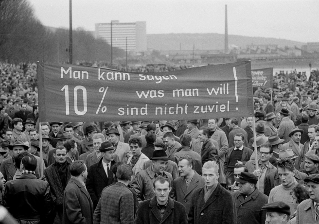 Some 10,000 steel workers participate in a demonstration to demand a 10 per...