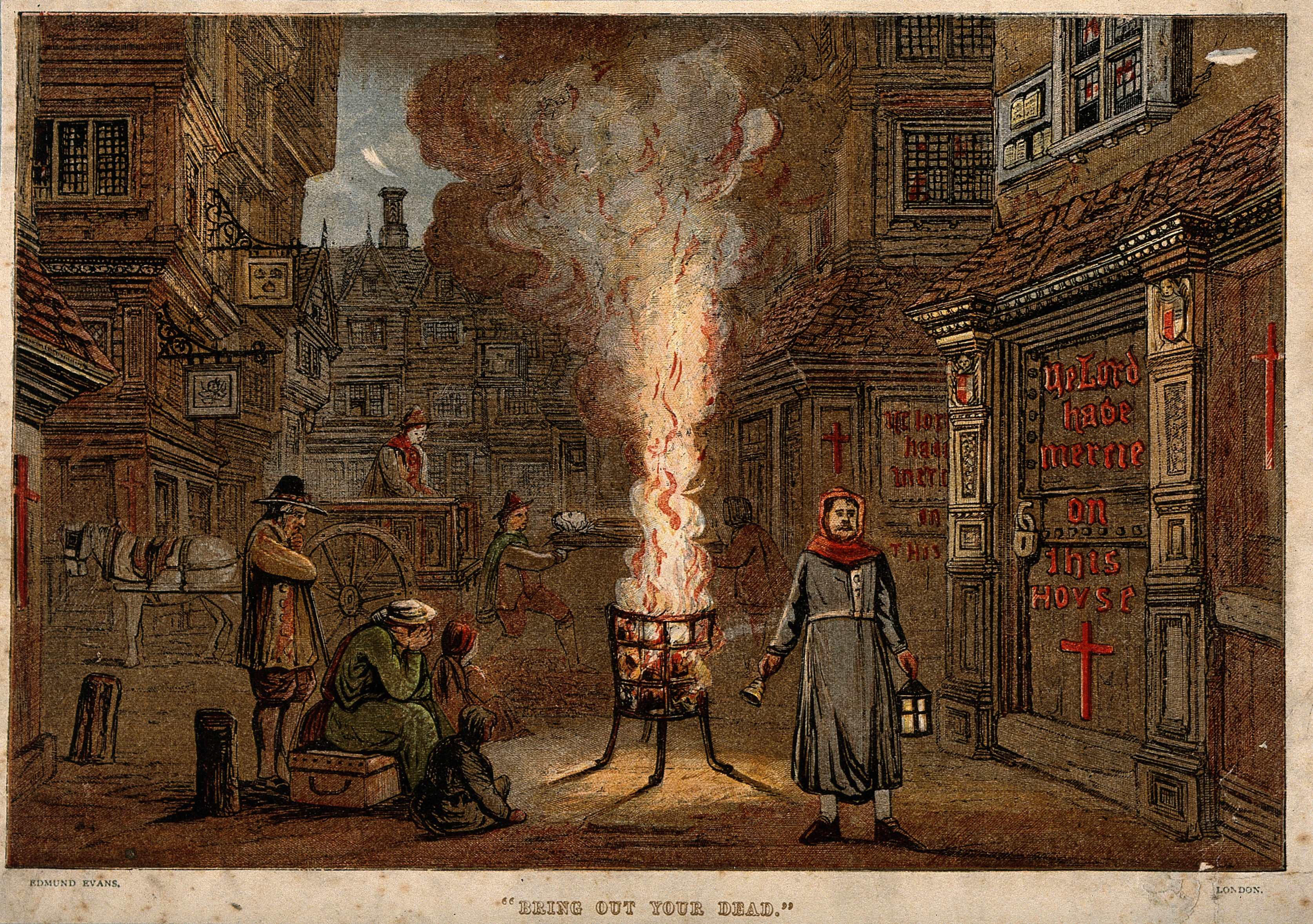V0010604 A street during the plague in London with a death cart and m